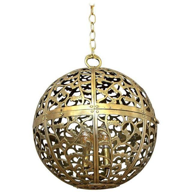 Large Japanese Asian Pierced Filigree Brass Ceiling Pendant Light For Sale - Image 11 of 11