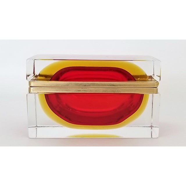 Campaign Murano Vintage 1970s Glass Jewelry Box by Alessandro Mandruzzato - Italy Italian Mid Century Modern Palm Beach Chic Tropical Coastal For Sale - Image 3 of 13