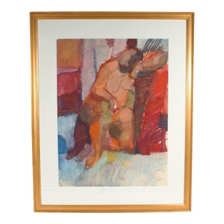 Walter Stomps Oil on Paper Abstract Painting of a Seated Nude For Sale