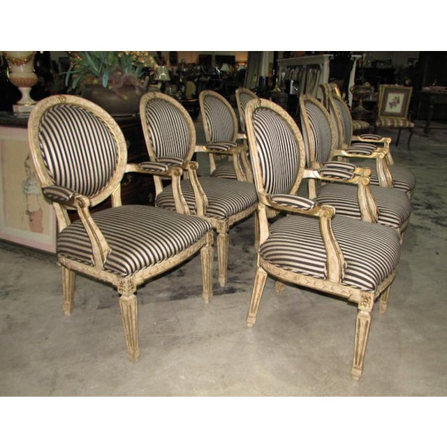 French French Louis XV Carved Wood Oval Back Dining Arm Chairs - Set of 7 For Sale - Image 3 of 13