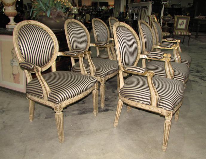 French French Louis XV Carved Wood Oval Back Dining Arm Chairs   Set Of 7  For