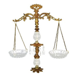 Vintage Ornate Crystal Prism/Brass & Marble Scales of Justice For Sale