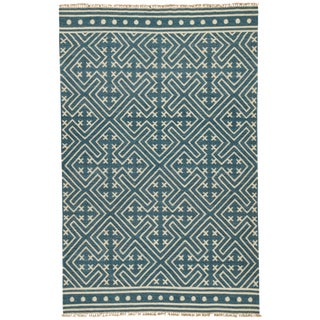 Jaipur Living Lahu Handmade Geometric Blue/ White Area Rug - 9′ × 12′ For Sale