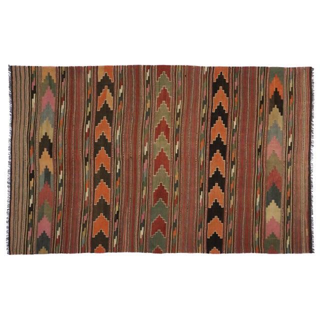 Mid-Century Modern Vintage Turkish Kilim Rug - 7'10 x 12'6 - Image 5 of 6