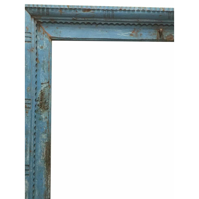 Asian Antique Blue Rustic Tall Floor Mirror Haveli Door Frame Wall Mirror Farmhouse For Sale - Image 3 of 4