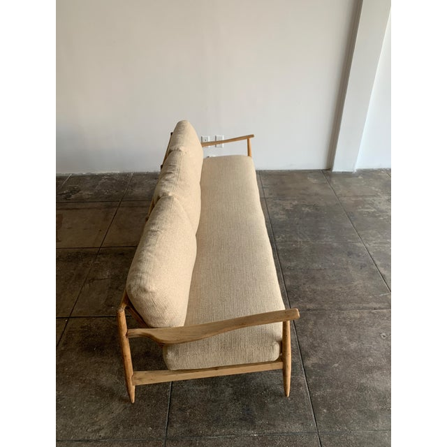 MCM Danish Wood and Woven Cane Couch For Sale In Los Angeles - Image 6 of 10