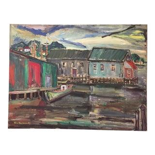 1940s Vintage Elias Newman Dockside Gloucester Harbor Gouache on Board Painting For Sale