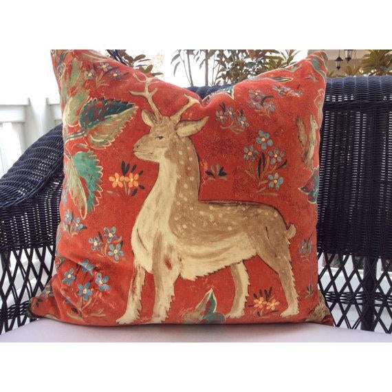 Contemporary Zoffany Red Venetian Animal Print Velvet Pillows - a Pair For Sale - Image 3 of 5