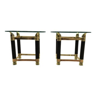 Italian Faux Tusk Brass & Glass Side Tables - a Pair For Sale