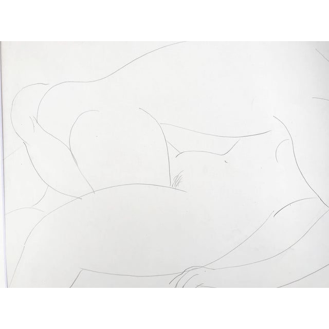 1950s Vintage French Abstract Erotic Nude Pencil Drawing Paris 1951 For Sale - Image 5 of 6