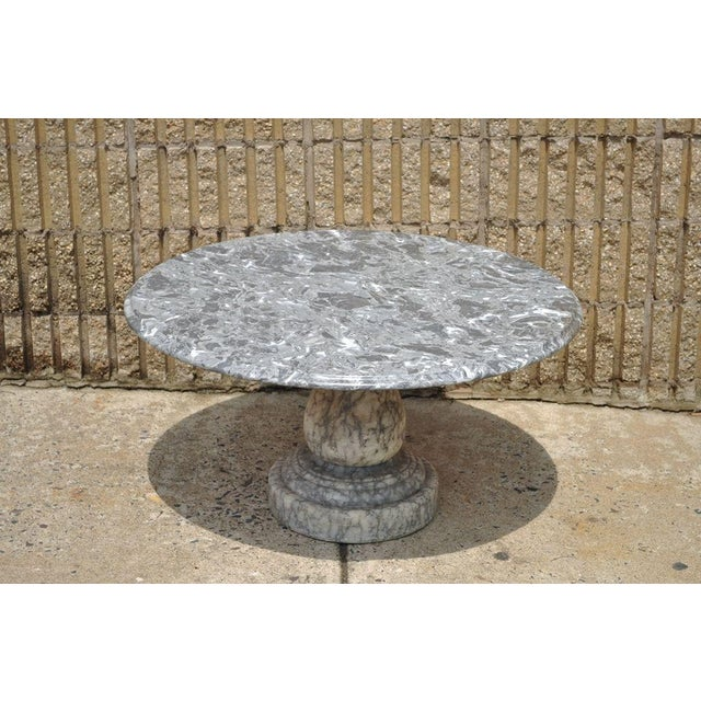 Gray Vintage Decorator Hollywood Regency Italian Grey Marble Round Coffee Table For Sale - Image 8 of 8