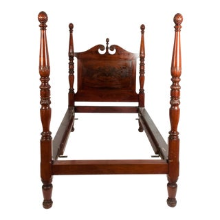Mid-19th Century Empire Style Mahogany Four Poster Single Bed For Sale