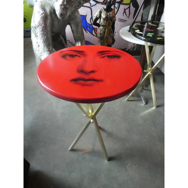 Vintage Fornasetti Red Julia Side Table sold as found in vintage condition without damage showing normal signs of previous...