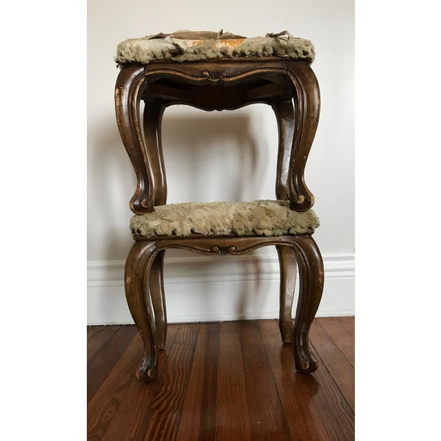 Fur-Topped Distressed Antique Footstools - A Pair - Image 2 of 7