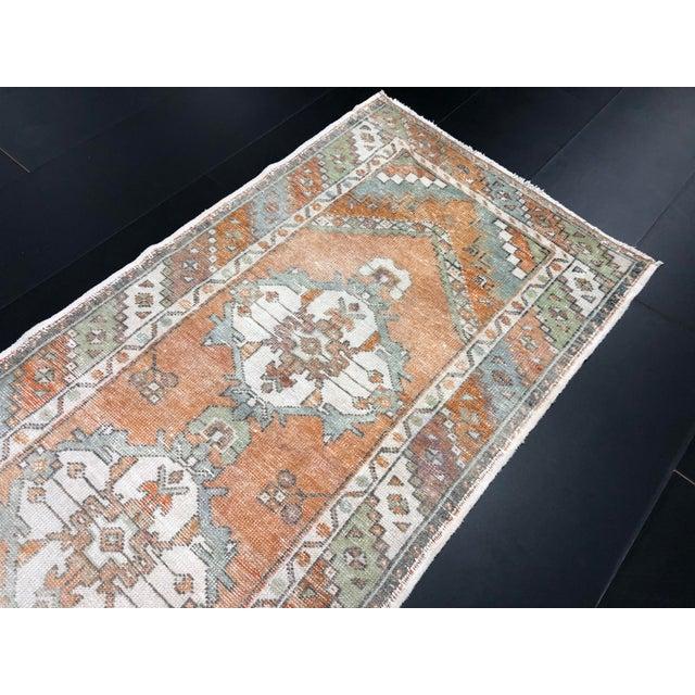 Textile Vintage Orange Faded Oushak Turkish Wool Runner- 2′11″ × 10′3″ For Sale - Image 7 of 11