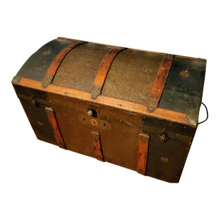 Late 1800s Antique Steamer Trunk For Sale