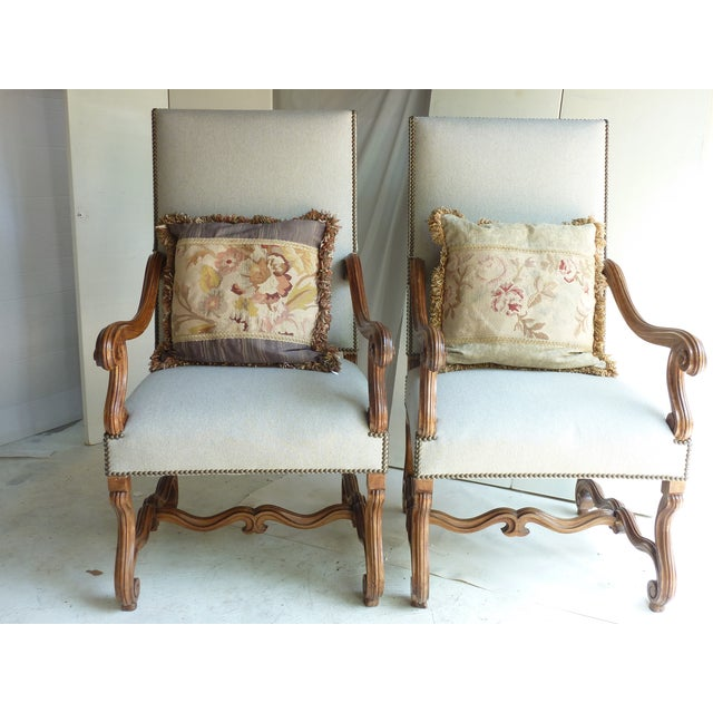 Mediterranean Louis XIV-Style Fauteuils - A Pair For Sale - Image 3 of 5