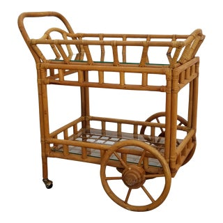 Vintage Boho Chic Rattan & Bamboo Rolling Bar Cart For Sale