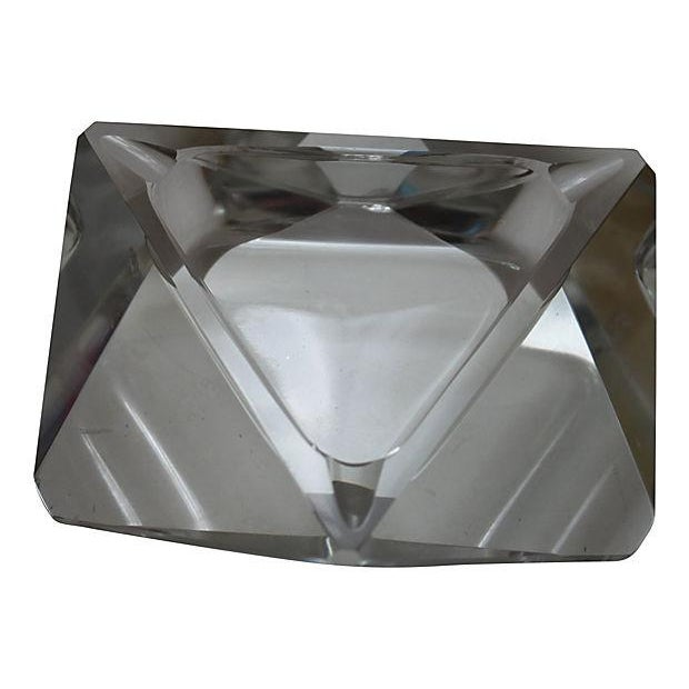 A beautiful, vintage lead crystal ashtray in a triangular shape. While this item is in excellent condition it does have a...