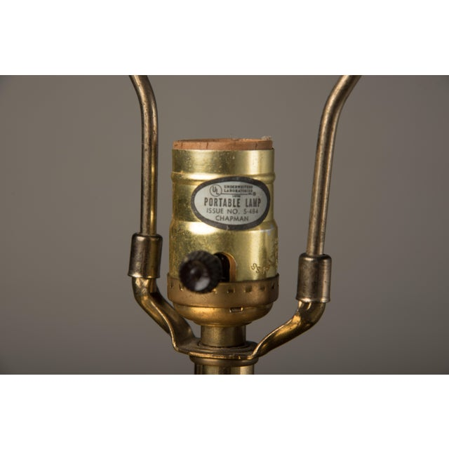 Chapman Manufacturing Company 1980s Modern Chapman Black Ceramic and Brass Lamp For Sale - Image 4 of 7