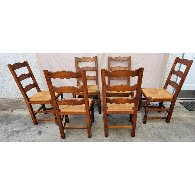 Antique Plank Solid Oak Refectory Dining Table With Set of 6 Ladderback Chairs - 7 Pieces For Sale - Image 10 of 13