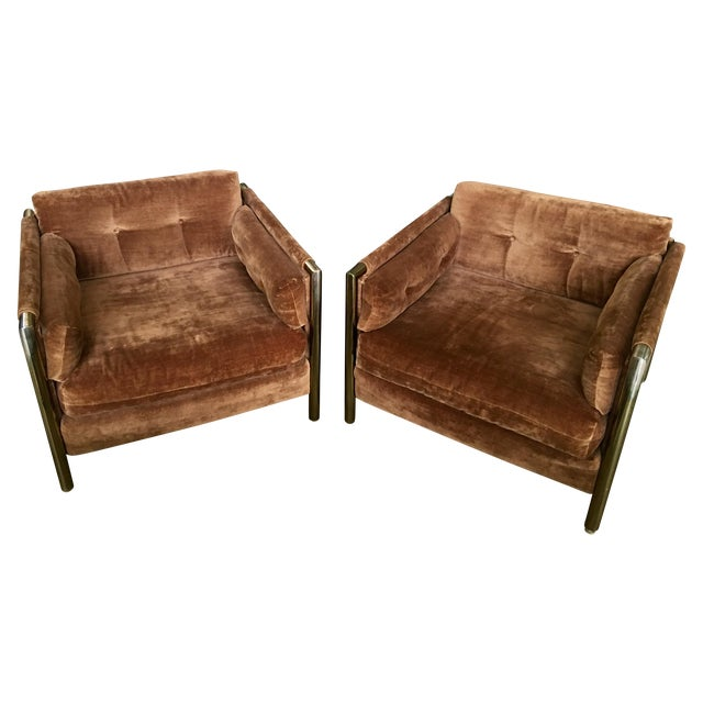 Milo Baughman-Style Brown Club Chairs - A Pair - Image 1 of 10