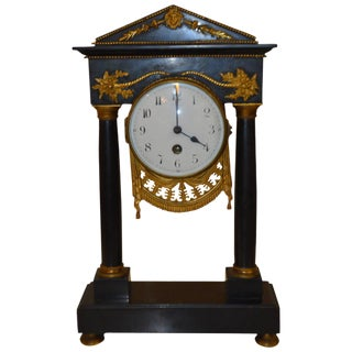 19th Century French Desk Marble Clock For Sale