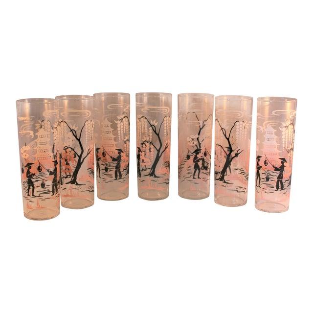 Vintage Libbey Asian Design HighBall Cocktail Glasses - Set of 7 For Sale