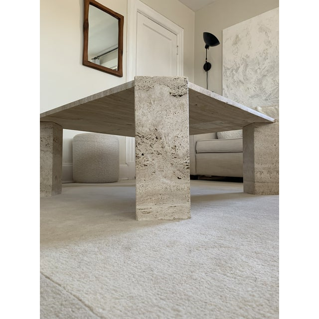 This authentic Italian Travertine coffee table is stunning. It's in amazing vintage condition with very minor chips that...