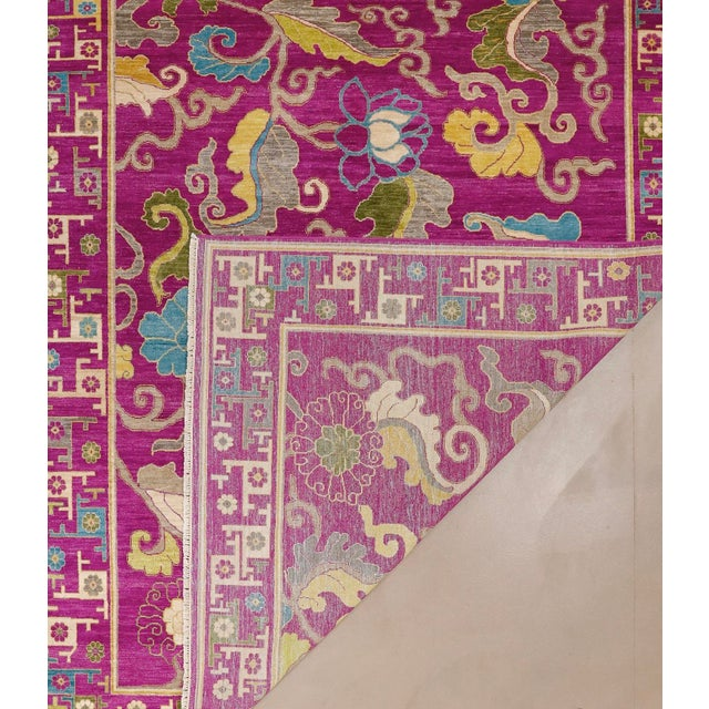"Exotic Fuschia Chinese Design Rug, 8' X 10'3"" For Sale - Image 9 of 12"