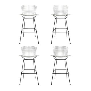 Vintage Harry Bertoia Bar Stools Black and White For Sale