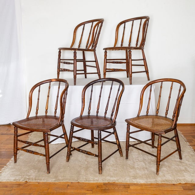 Primitive 19th Century Vintage Cane Seat Spindle Back Windsor Primitive Bow Back Chairs For Sale - Image 3 of 13
