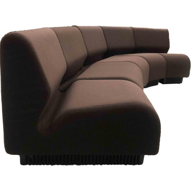 Class Mid-Century Modern design by Don Chadwick for Herman Miller, circa 1970s. Fabric is deep brown-colored, fresh...