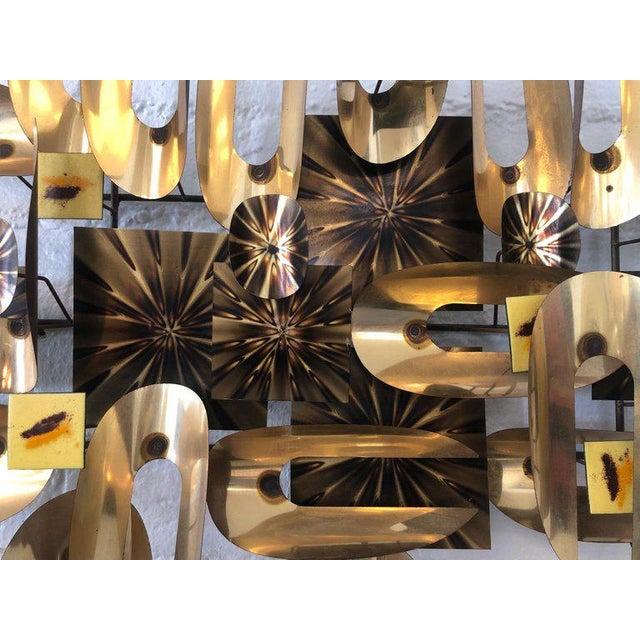 Brutalist Brutalist Brass and Enamel Wall Sculpture For Sale - Image 3 of 6