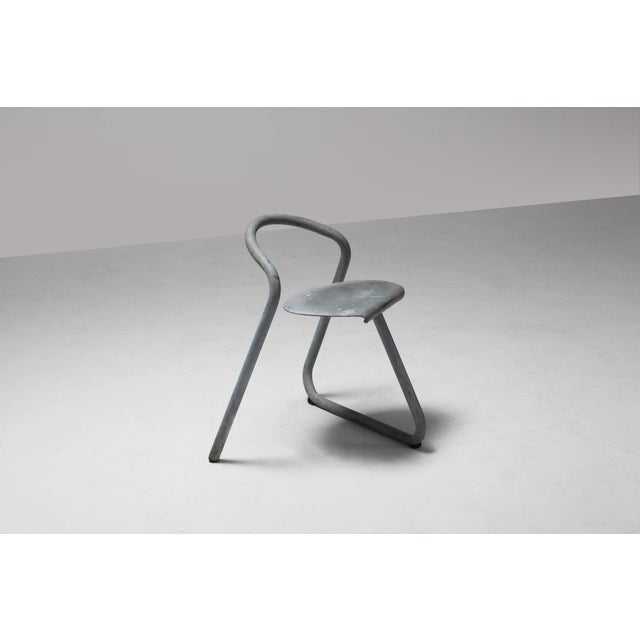 Danish Stackable Chairs in Galvanized Steel by Erik Magnussen, Set of Nine For Sale - Image 9 of 10
