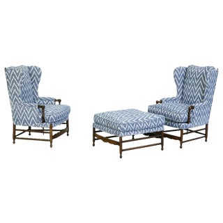 19th Century Vintage Classic Provincial Armchairs and Ottoman- 3 Pieces For Sale