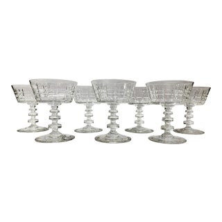 1940s Short Dutch Style Champagne Coupes Glassware - Set of 7 For Sale