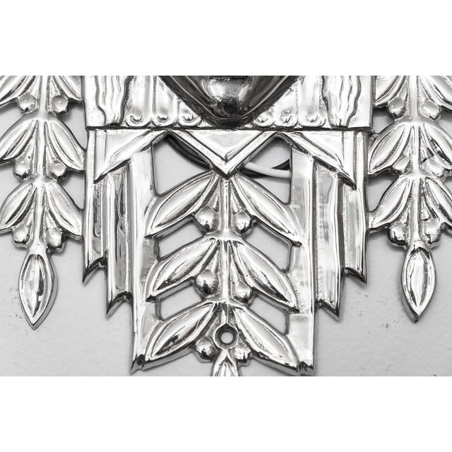 1970s Art Deco Heavy Nickeled Bronze Light Sconces W/ Frosted Glass - Set of 6 For Sale - Image 5 of 13