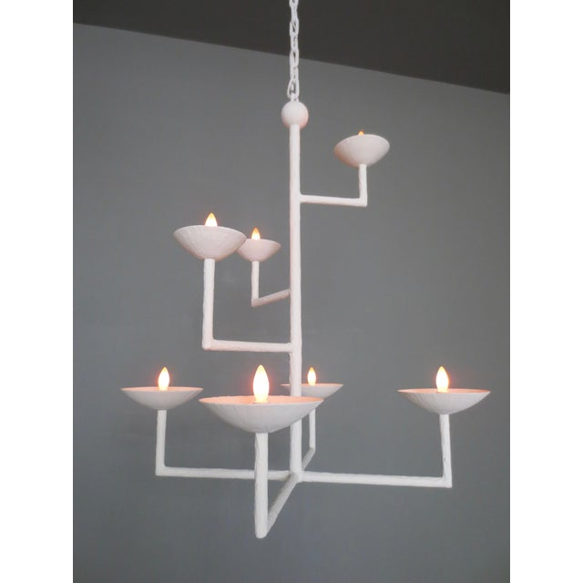 Contemporary 7 Cup Plaster Chandelier With Chain For Sale - Image 3 of 8