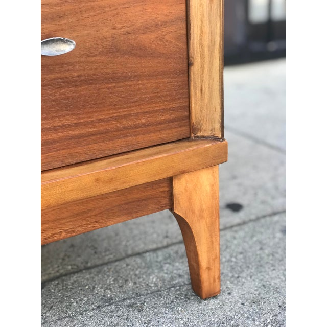 Mid Century Credenza With Metal Pulls For Sale - Image 9 of 11