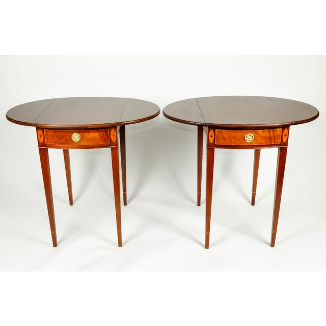 Antique Cherry and Satinwood Banded Pembroke Side Tables - a Pair For Sale - Image 4 of 13