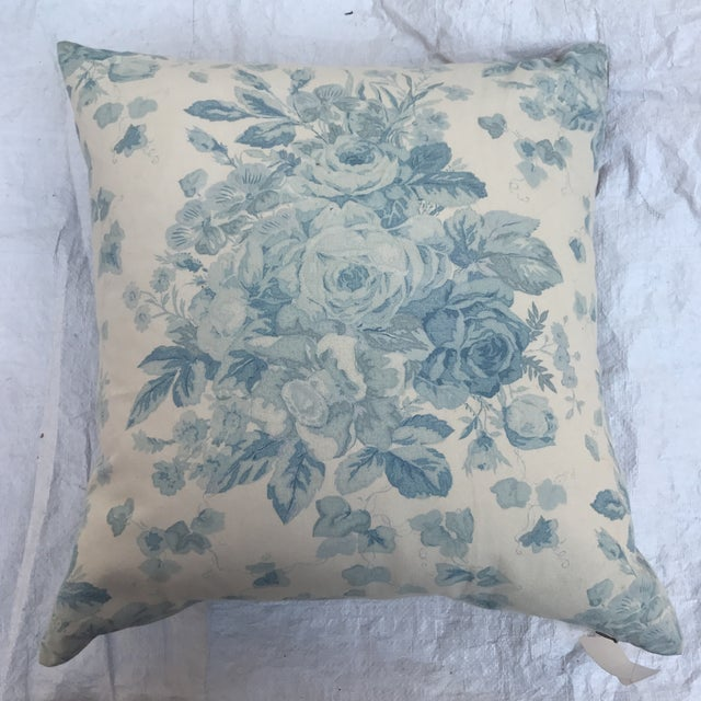 """Ralph Lauren """"Faded Bouquet"""" Blue & White Floral Pillows~Pair For Sale - Image 4 of 11"""