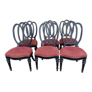 Wood Pretzel Back Chairs With Red Upholstery - Set of 6 For Sale