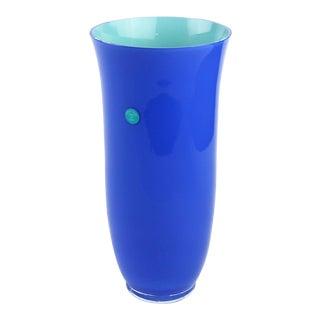 1990s Contemporary Carlo Moretti for Tiffany & Co. Blue Glass Vase