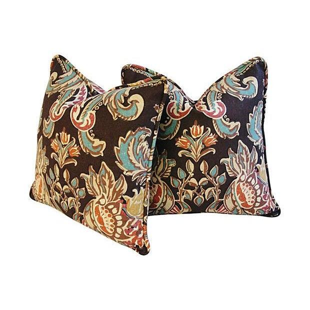 Designer Kravet Lutron Espresso Pillows - A Pair - Image 2 of 6