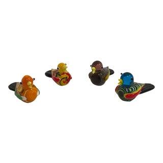 Vintage Hand Blown Miniature Glass Birds - Set of 4