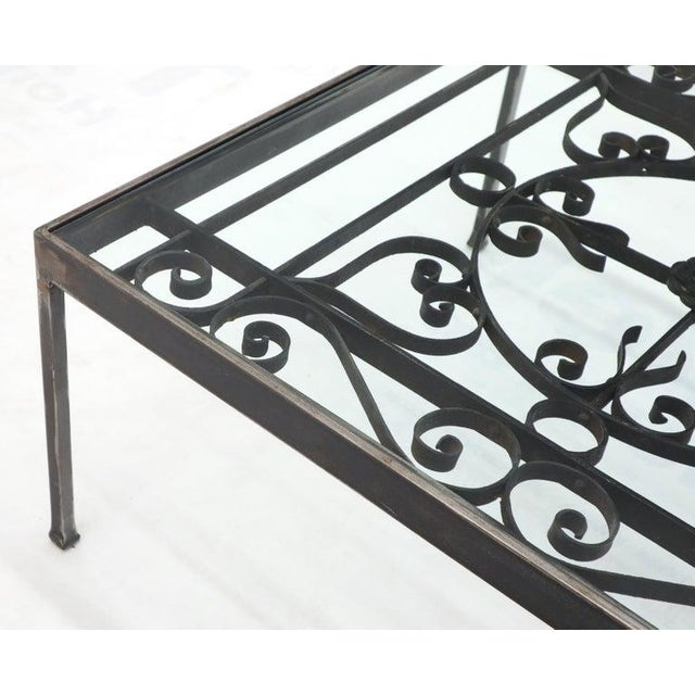 Gray Massive Wide Rectangle Glass Top Wrought Iron Coffee Center Table For Sale - Image 8 of 11