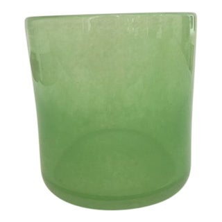 Modern Hand Blown Glass Cylindrical Vase For Sale