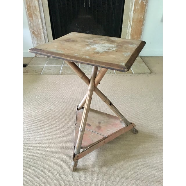 Bamboo Wood Side Table For Sale In New York - Image 6 of 6
