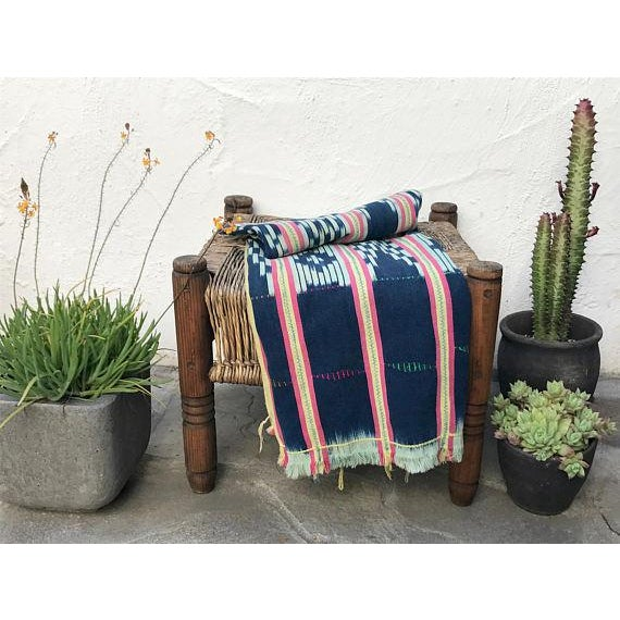 Vintage Pink & Indigo African Baule Cloth Textile For Sale In Los Angeles - Image 6 of 6